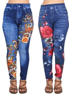 Ziva Fashion Blue Jegging(Floral Print)