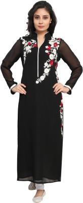 STYLE&MOOD Women Embroidered Straight Kurta(Black)