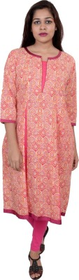 Awesome Women Printed Frontslit Kurta(Multicolor)