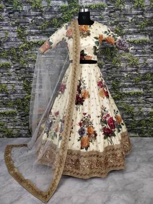 Zeel Clothing Floral Print Lehenga Choli(White)