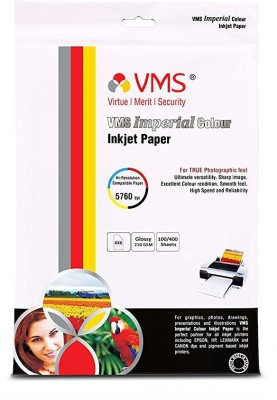 VMS Professional Colour High Glossy Inkjet Photo Paper 4R (4x6 inch) 210 GSM set of 2 (200 Sheets) Unruled 4x6 Inkjet Paper(Set of 2, White)