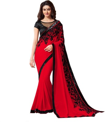 DWITSTYLE Embroidered Bollywood Georgette Saree(Red, Black) Flipkart
