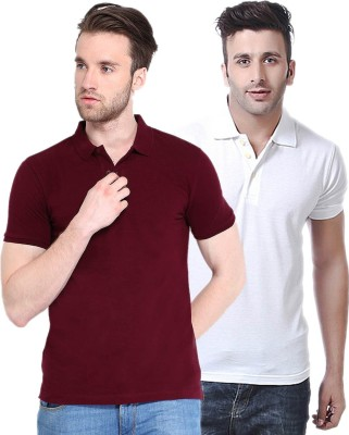 Concepts Solid Men's Polo Neck Maroon, White T-Shirt(Pack of 2)