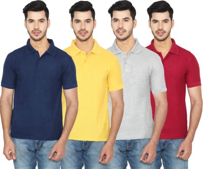 Rock Hudson Solid Men Polo Neck Multicolor T-Shirt(Pack of 4)