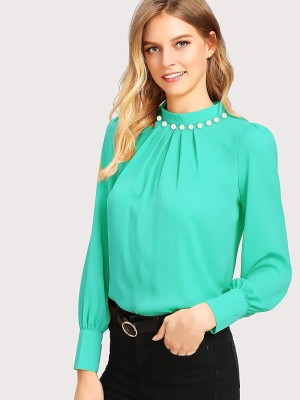 Alfa Fashion Party Puff Sleeve Solid Women