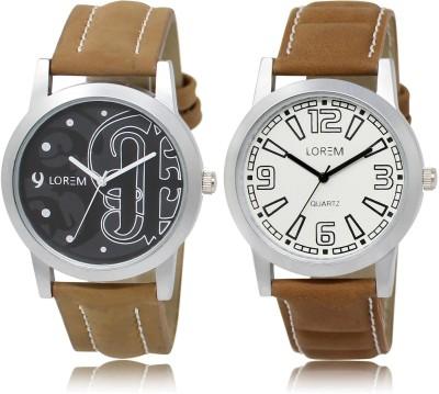 LOREM LR14-15 COMBO White & Black Round Boy's Leather Watch - For Men