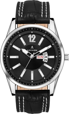 ADIXION 9322SL01 New Leather Strep day & date Stainless Steel Youth Watch Analog Watch  - For Men