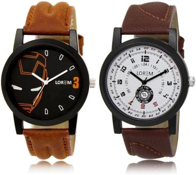 LOREM LR4 11 COMBO Multicolor Round Boy's Leather Analog Watch   For Men LOREM Wrist Watches
