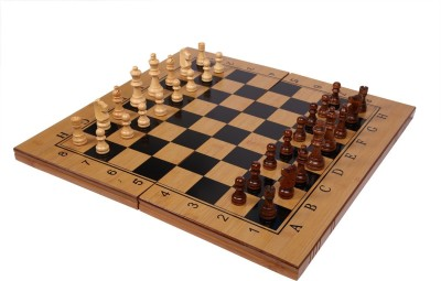 Assemble Folding 3 in 1 Wooden 14 Inch Chess/Checkers/Backgammon Board game-Multicolor 14 inch Chess Board(Multicolor)