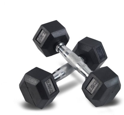 Glaze Royal Imported 2.5kg Pair Hexagon Fixed Weight Dumbbell(5 kg)