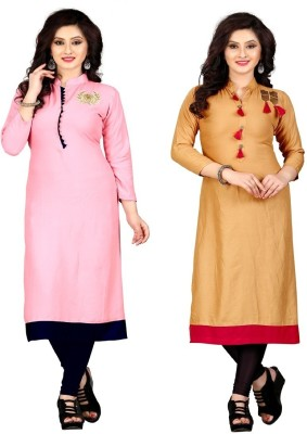 Sukhvilas Fashion Casual Embroidered Women Kurti(Pack of 2, Pink, Gold)