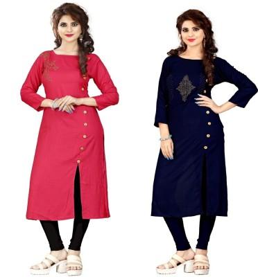 Sukhvilas Fashion Casual Embroidered Women Kurti(Pack of 2, Red, Blue) Flipkart