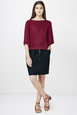 AND Solid Women A line Black Skirt