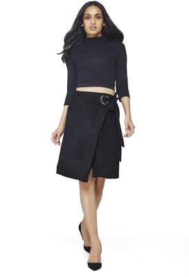 AND Solid Women Wrap Around Black Skirt