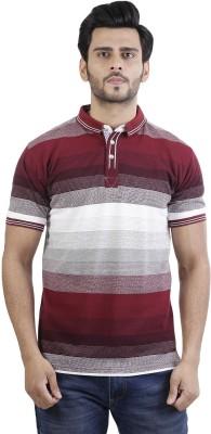 Basics Striped Men Polo Neck Maroon T-Shirt