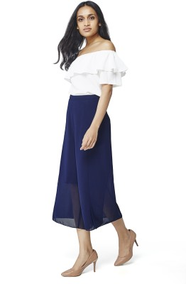 AND Regular Fit Women Blue Trousers at flipkart
