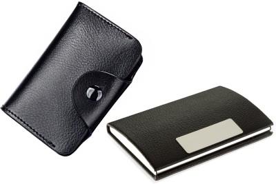 Flipkart SmartBuy High Quality | Pack of 2 | Stylish Full Black Leatherite and Leatherite piece Silver Metal Business 1101 Credit/debit/ATM/ID/Visiting SUPER SLEEK, STURDY 10 Card Holder(Set of 2, Black)