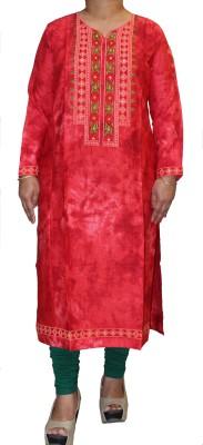 Rang Rangeeli Women Embroidered Straight Kurta(Red)