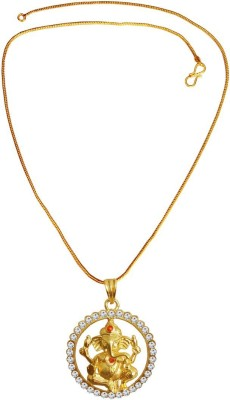 Rich & Famous Gold plated Round Ganesha Gold-plated Quartz Brass Pendant