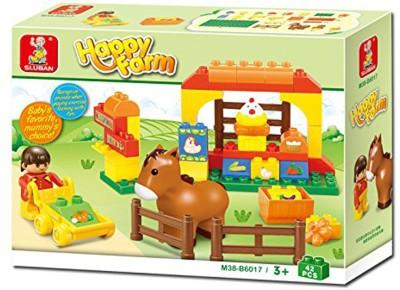 Sluban Happy Farm Building Block Toys | Educational Gift Toy Set For Kids | M38 B6017  45 Pcs  Multicolor Sluban Blocks   Building Sets