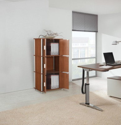 HomeTown Jacob Engineered Wood Free Standing Cabinet(Finish Color - OAK, Door Type- Framed Sliding)