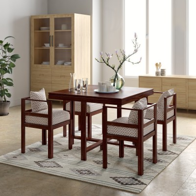 Woodness Milan Glass 4 Seater Dining Set(Finish Color - Black)