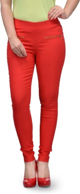 Tulsattva Red Jegging Solid Tulsattva Women's Jeggings