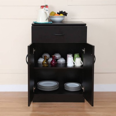Home Full Engineered Wood Crockery Cabinet(Finish Color - WENGE)