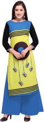 Saara Women Striped, Printed Straight Kurta(Yellow, Blue, Black)