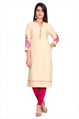 Metro Fashion Women Embroidered Straight Kurta(Pink, Beige)
