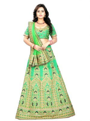 ARSHIMPEX Embroidered Semi Stitched Lehenga, Choli and Dupatta Set(Light Green)
