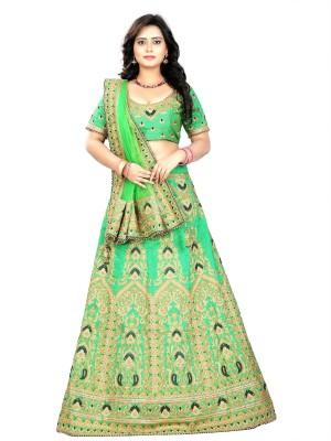 ARSHIMPEX Embroidered Semi Stitched Lehenga, Choli and Dupatta Set(Light Green) at flipkart