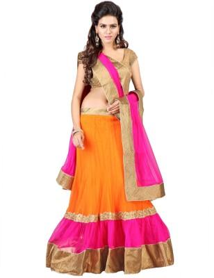 Kavita Fashion Embroidered Semi Stitched Lehenga, Choli and Dupatta Set(Orange) at flipkart