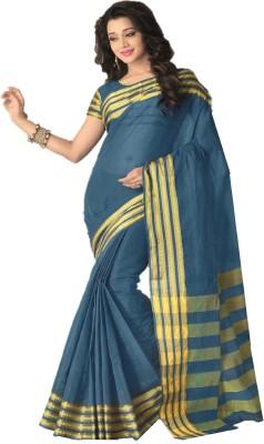FabTag - Design Willa Solid Fashion Silk Cotton Blend Saree(Blue)