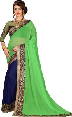 FabTag - Aashvi Creation Embroidered, Solid, Self Design Bollywood Georgette Saree(Multicolor) Flipkart