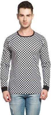 Alan Jones Checkered Men Round or Crew Black, White T-Shirt