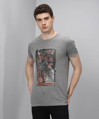 Jack & Jones Printed Men's Round Neck Grey T-Shirt