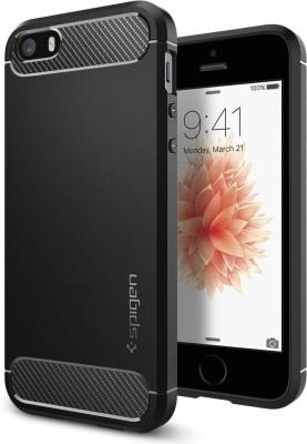 Spigen Back Cover for Apple iPhone SE / 5s / 5(Black, Rugged Armor, Plastic)