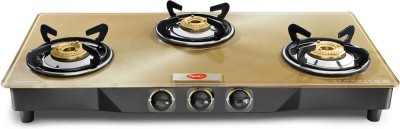 Pigeon Blackline Smart Stainless Steel, Glass Manual Gas Stove(3 Burners)