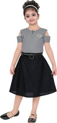 Digimart Girls Midi/Knee Length Party Dress(Black, Half Sleeve)