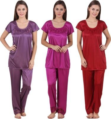 Ansh Fashion Wear Women Solid Red, Pink, Purple Top & Pyjama Set