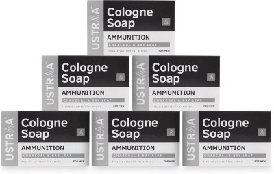 Ustraa Ammunition Cologne Soap with Charcoal & Bay Leaf, 125 gm (Pack of 6)(750 g, Pack of 6)