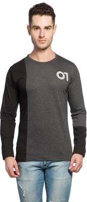 Alan Jones Self Design Men Round or Crew Grey T-Shirt
