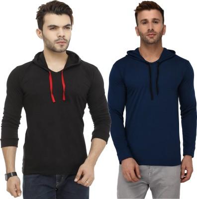 SHAPPHR Color block Men Hooded Black, Red T-Shirt