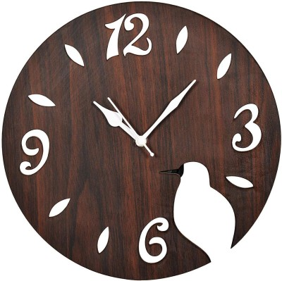clocker Analog Wall Clock(Brown, Without Glass)