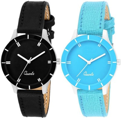 RUSTET 605-blk&sk Black And Sky Blue Leather Strap Combo Analog Watch  - For Women