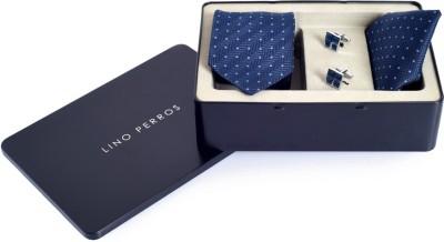 Lino Perros Satin Tie & Cufflink(Blue)