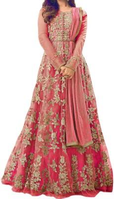 SA Kart Net Embroidered Semi-stitched Salwar Suit Dupatta Material