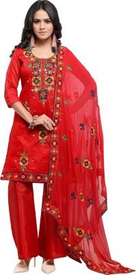 EthnicJUnction Poly Chanderi Embroidered, Embellished Salwar Suit Material(Unstitched)