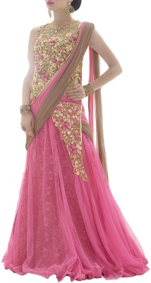 Aryan Fashion Store Net Embroidered, Embellished Semi-stitched Salwar Suit Dupatta Material